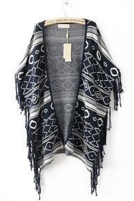 Black Sleeveless Tassel Geometric Print Cape Sweater