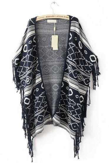 Black Sleeveless Tassel Geometric Print Cape Sweater