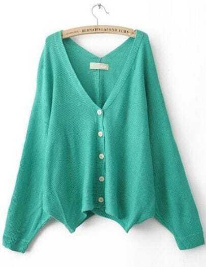 Green V Neck Batwing Sleeve Cardigan Sweater