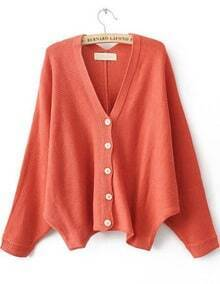 Red V Neck Batwing Sleeve Cardigan Sweater