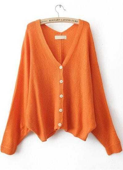 Orange V Neck Batwing Sleeve Cardigan Sweater