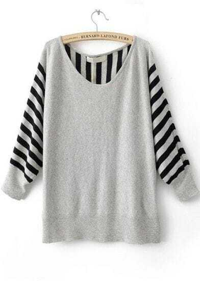 Grey Striped Long Sleeve Batwing Pullovers Sweater