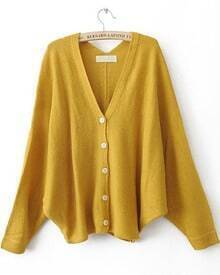 Yellow V Neck Batwing Sleeve Cardigan Sweater