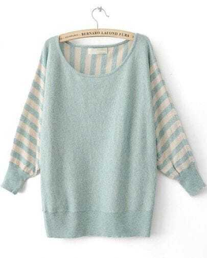 Light Blue Striped Long Sleeve Batwing Pullovers Sweater