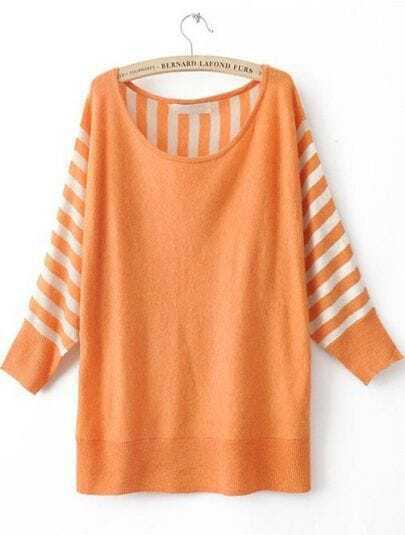 Orange Striped Long Sleeve Batwing Pullovers Sweater