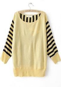 Yellow Striped Long Sleeve Batwing Pullovers Sweater