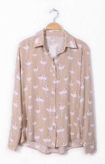 Pink Lapel Long Sleeve Swan Print Chiffon Shirt