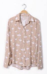 Pink Lapel Long Sleeve Swan Print Chiffon Shirt