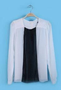 White Black Long Sleeve Pleated Chiffon Shirt