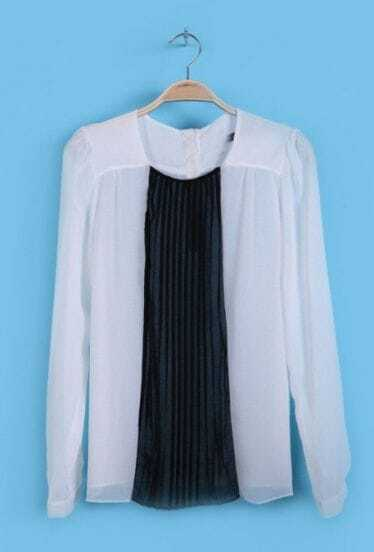 White Black Long Sleeve Pleated Chiffon Shirt