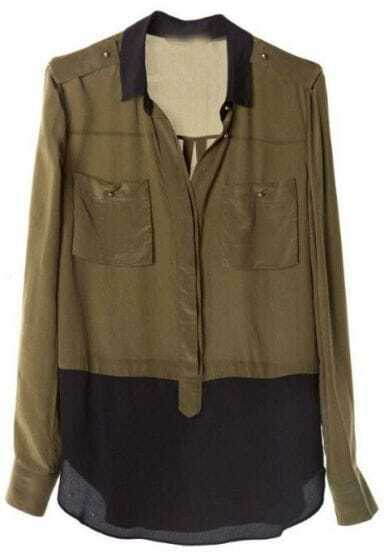 Green Black Lapel Long Sleeve Pockets Chiffon Shirt