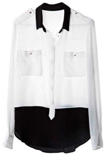 White Black Lapel Long Sleeve Pockets Chiffon Shirt