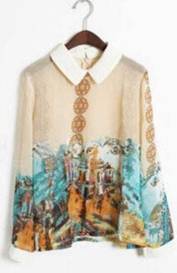 Yellow Lapel Long Sleeve Floral Zipper Chiffon Shirt