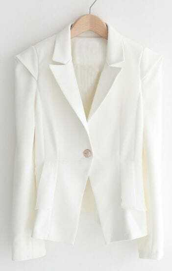 White Notch Lapel Long Sleeve Ruffles Suit