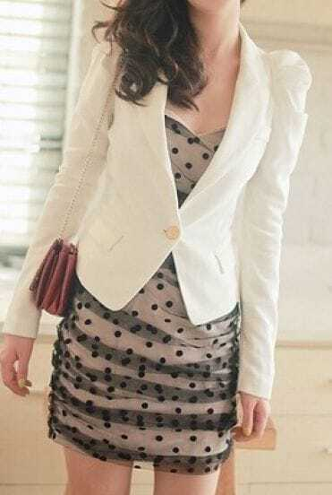 White Long Puff Sleeve Single Button Suit