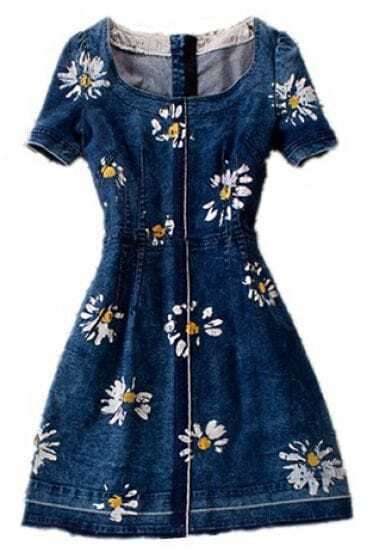 Blue Round Neck Short Sleeve Floral Denim Dress