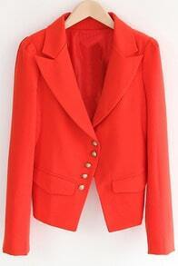 Orange Notch Lapel Long Sleeve Fitted Crop Suit