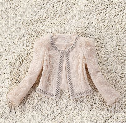 Beige Long Sleeve Pearls Rhinestone Embroidery Coat