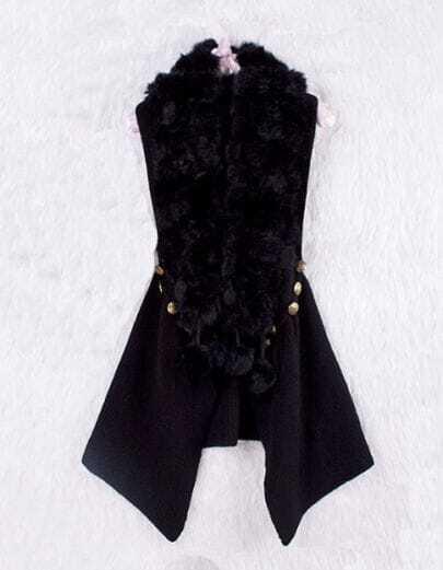 Black Sleeveless Wool Embellished Buttons Coat