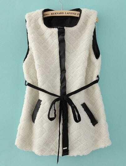 White Sleeveless Contrast Trims Fur Vest Coat