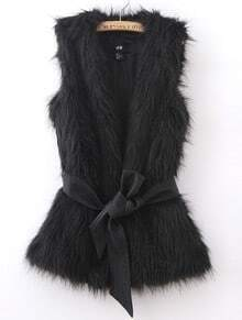 Black Sleeveless Faux Fur Open Vest