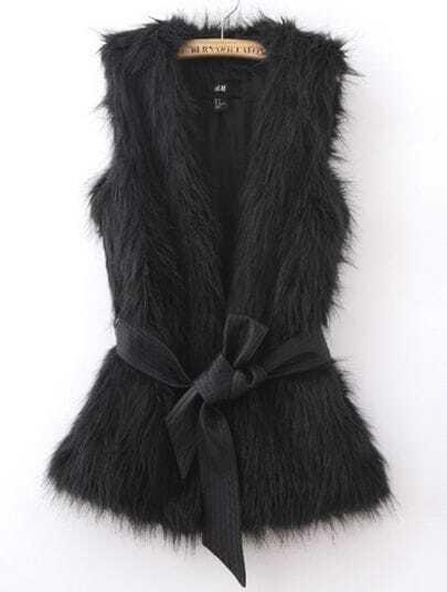 Black Sleeveless Faux Fur Open Vest