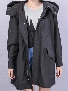 Black Hooded Long Sleeve Letters Print Trench Coat