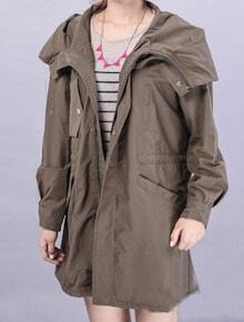 Green Hooded Long Sleeve Letters Print Trench Coat
