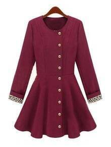 Wine Red Long Sleeve Leopard Buttons Ruffles Coat