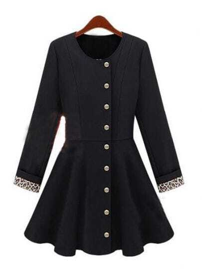 Black Long Sleeve Leopard Buttons Ruffles Coat