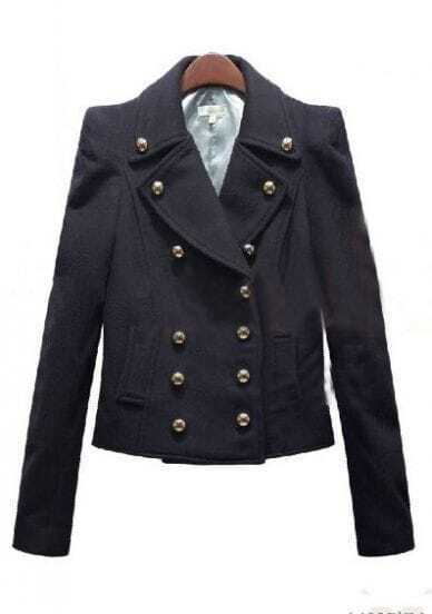 Navy Notch Lapel Long Sleeve Buttons Coat