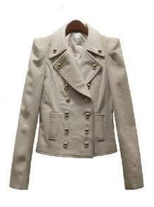 Beige Notch Lapel Long Sleeve Buttons Coat
