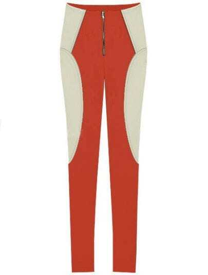 Orange White Elasic Zipper Skinny Leggings