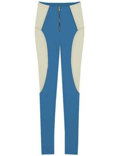 Blue White Elasic Zipper Skinny Leggings