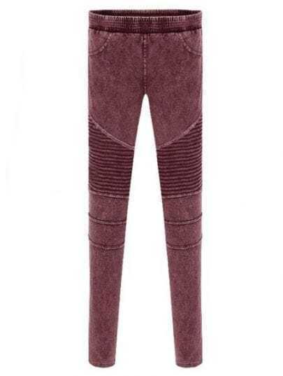 Red Skinny Elasic Pockets Denim Leggings