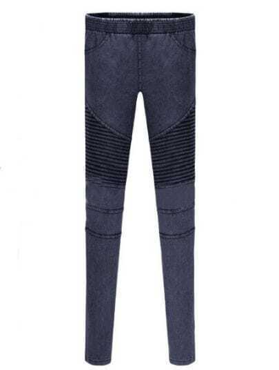 Navy Skinny Elasic Pockets Denim Leggings