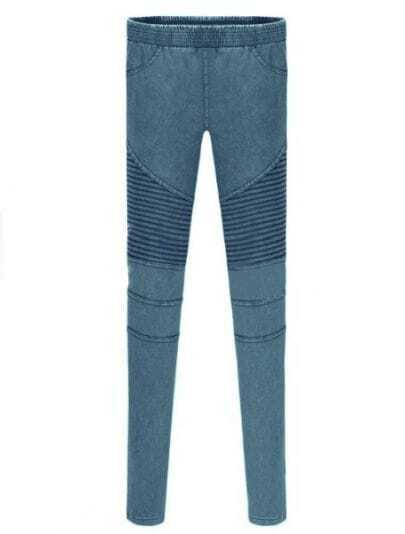 Blue Skinny Elasic Pockets Denim Leggings
