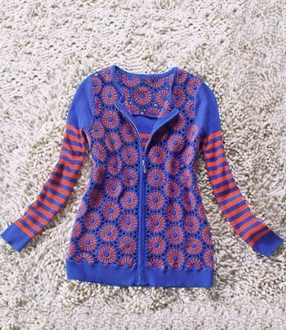 Multi Long Sleeve Striped Zipper Cardigan Sweater