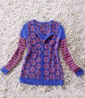 Multi Long Sleeve Striped Zipper Cardigan Sweater