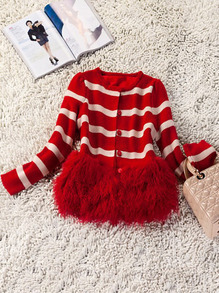 Red White Long Sleeve Faux Fur Cardigan Sweater