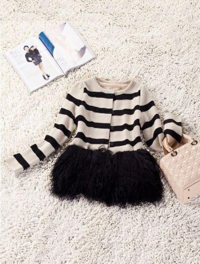 Beige Black Long Sleeve Faux Fur Cardigan Sweater