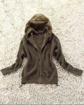 Green Hooded Long Sleeve Pleated Cardigan Sweater