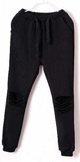 Black Drawstring Waist Ripped Loose Pant