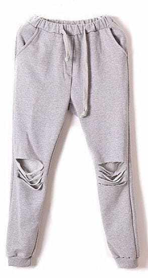 Grey Drawstring Waist Ripped Loose Pant