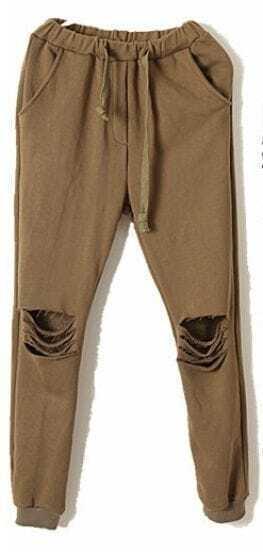 Green Drawstring Waist Ripped Loose Pant