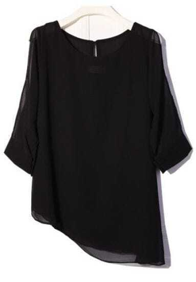 Black Split Half Sleeve Off the Shoulder Chiffon Shirt