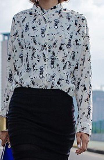 Beige Long Sleeve People Print Chiffon Shirt