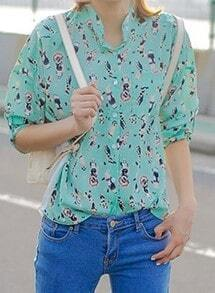 Green Long Sleeve People Print Chiffon Shirt