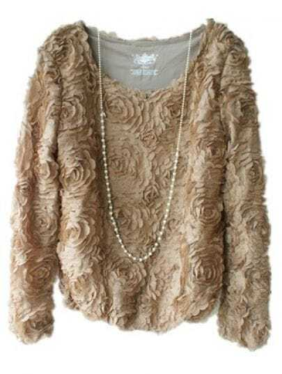Khaki Long Sleeve Chiffon Rosette Pullovers