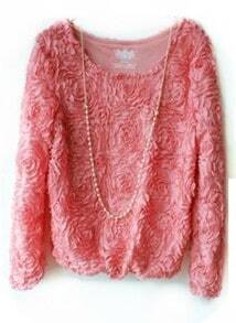 Pink Long Sleeve Chiffon Rosette Pullovers